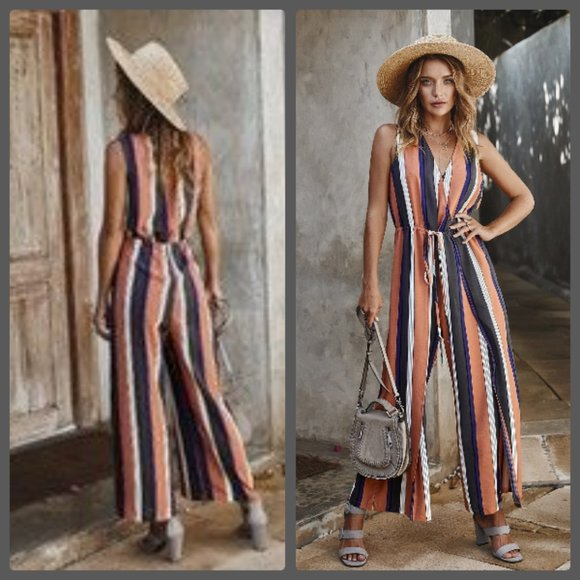 MOUNTAIN VALLEY TRADING Pants - NEW PINK STRIPED JUMPSUIT SLIMMING SLIT PANTS